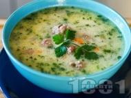 Супа топчета с ориз и застройка - класическа рецепта